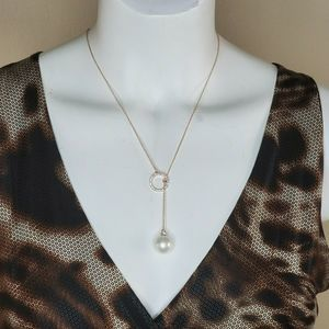 INC rose gold tone crystal ring & sliding necklace